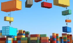 Cargo containers in storage area with forklifts. Delivery  or shipping background concept. 3d illustration